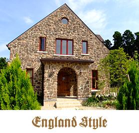 輸入住宅 イングランドスタイル写真とロゴ