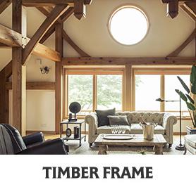 輸入住宅 ティンバーフレーム写真とロゴ